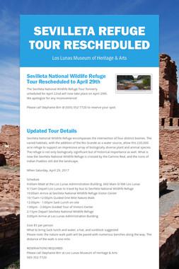 Sevilleta Refuge Tour Rescheduled