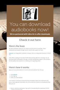 You can download audiobooks now!