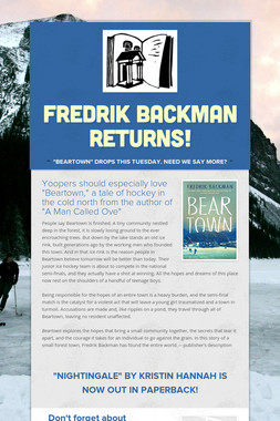 Fredrik Backman returns!