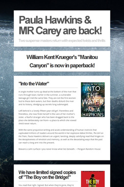 Paula Hawkins & MR Carey are back!
