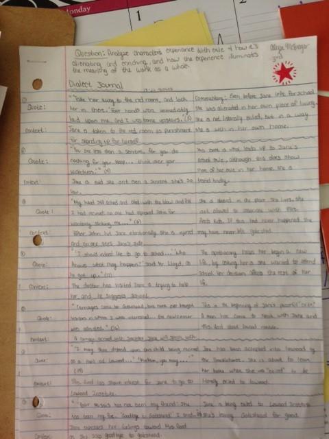 student dialectical journals djs