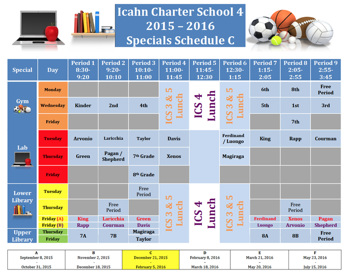 Specials Schedule C (December 22nd - February 5th)