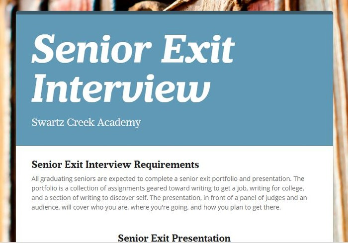 senior exit Senior exit interview handbook 3 introduction to the senior exit interview the senior exit interview is a graduation requirement established by the murrieta valley unified school district in 2008 as a recommendation from the.
