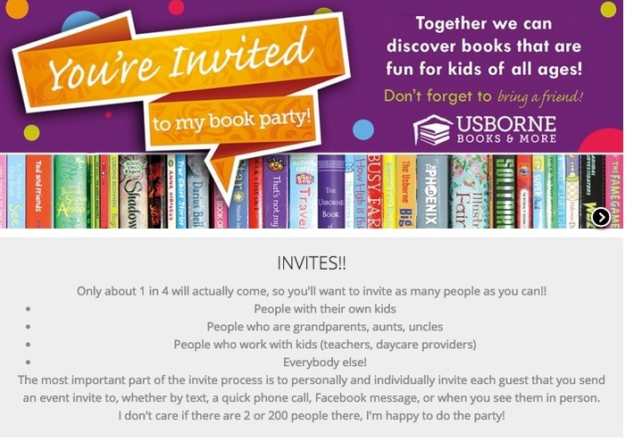 Your AWESOME Usborne Book Party – Book Party Invitation