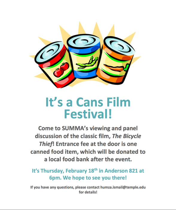 Sociology Undergraduate Majors and Minors Associate Film Showing and Food Drive