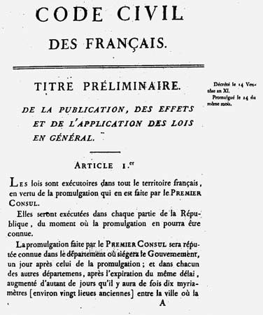 Newly Created French Civil Code