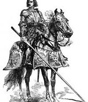 Sir Gawain on his horse