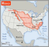 Comparison between the size of Mexico and U.S.A