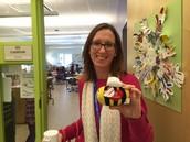 Ms. Chartrand, Kindergarten Teacher shows off her students' Estabees!