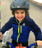 Cooper on his bike
