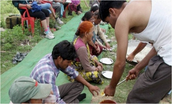 Local people providing food
