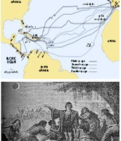 Map and picture of Christopher Columbus.