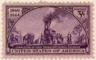Stamp declaring the first Transcontinental Railroad Complete