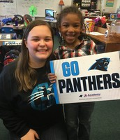 Cynthia and her buddy expressing Panther pride.
