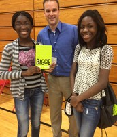 Students meeting author, Derek Sullivan.