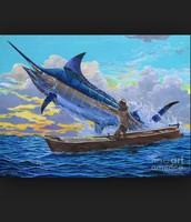 The old man catching the marlin