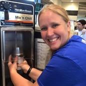 Mrs. Williams making a shake!