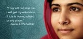 malala standing up for  herself .