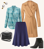 Window-pane Wrap Blouse, Casablanca Trench, Tulip Skirt