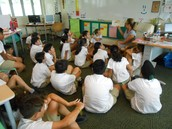 Diligent listeners during Mystery Reader