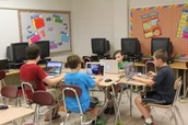 Students working with Minecraft to design Historic Haddonfield!