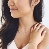 Pave curved bar necklace and bar bracelet.  Available in silver and gold.