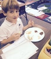 Jaron enjoying his apple taste test last week!!