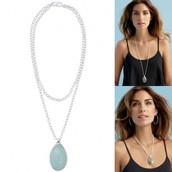 Sanibel Pendant Necklace - Aqua/Silver