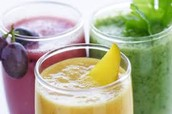A wide variety of veggie and fruit smoothies