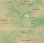 Physical map of Botswana