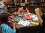 Making LED circuit bookmarks in the Makerspace!