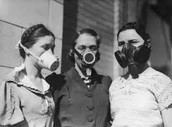3 woman protecting their lungs from the dust.