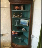 Ornate Antique 1/4 Round Corner Cabinet: $450