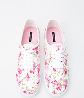 Floral Print Pink & White Keds
