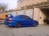 Subaru WRX синий седан 5 дверей, 2003 г., пробег 90 000 - 94 999 км. 2.0 MT (224 л.с.), бензин, полный привод, левый руль, не битый