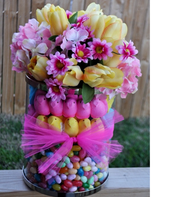 Arrangements are usually spherical or use line flowers which lead to the base of a arrangement.