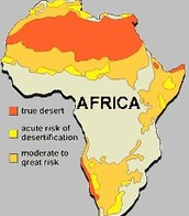 Map of Africa to show Desertification