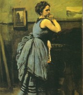 Dama in blu, Corot, 1875