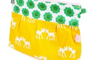 Yellow bambi with green mod flowers pouch