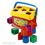 Babys toys fit the blocks in the right hole