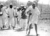 Gandhi and his followers on the Salt March