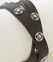 Clover Double Leather Wrap - Brown