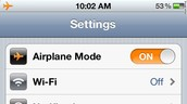 Airplane Mode in Settings