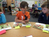 Ryne uses sticky notes to mark examples of cause & effect