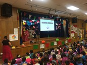 5th grade Panthers share book reports for Reading Rainbow at assembly!