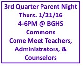 Parent Night 1/21/16 from 4-6pm