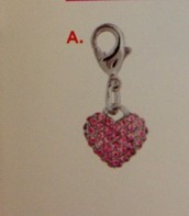 Pink Crystal Pave Heart Dangle