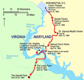 14. Booth was able to cross the Pontiac River and meet with his conspirators at Richard G. Garret's farm which was in Virginia where they would hid out in the Garret's barn for several days.