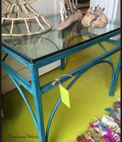 Blue Iron and Glass Table ~ $125