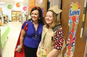 Kim on the left as Snow White for Book Character Day.